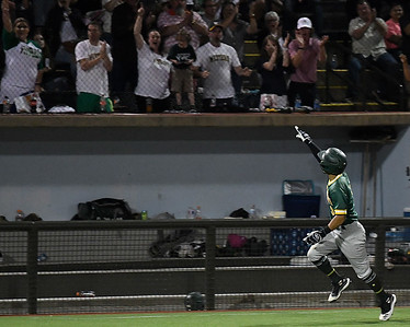 Western Oklahoma's Sammy De La Cruz poinys to the crowd after hitting a go ahead home run against LSU Eunice during the NJCAA DII World Series Saturday, June 5, 20212 at David Allen Memorial Ballpark. (Billy Hefton / Enid News & Eagle)