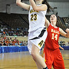 Alva's Jaden Hobbs puts up a shot against Dale  Saturday during the Lady Bugs 57-47 win in a class 2A semi-final game at the State Fair Arena in Oklahoma City. (Staff Photo by BILLY HEFTON)