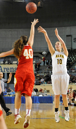 Alva's Morgan Shiever shoots over Dale's Danielle Dockrey Saturday during the Lady Bugs 57-47 win in a class 2A semi-final game at the State Fair Arena in Oklahoma City. (Staff Photo by BILLY HEFTON)
