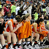 The Fairview bench hang their heads as the final second tick off the clock in the Lady Yellowjackets 51-35 loss to Northeast in a class 2A state semi-final game Friday at the State Fair Arena in Oklahoma City. (Staff Photo by BILLY HEFTON)