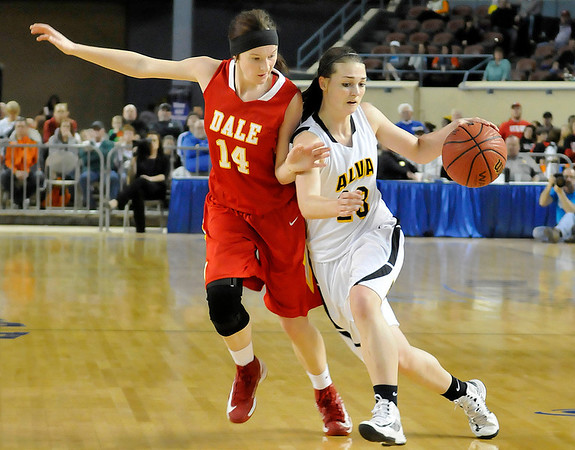 Alva's Jaden Hobbs drives towards the basket against Dale's Brayden Newton Saturday during the Lady Bugs 57-47 win in a class 2A semi-final game at the State Fair Arena in Oklahoma City. (Staff Photo by BILLY HEFTON)