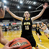 Alva's Lora Riley pressures the inbound pass during the Lady Bugs 55-35 win over Rilpey Monday in the class 2A consloation final at the Chisholm Trail Expo Center in Enid. (Enid News & Eagle Photo by Billy Hefton)