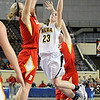 Alva's Jaden Hobbs puts up a shot against Dale's Breck Clark Saturday during the Lady Bugs 57-47 win in a class 2A semi-final game at the State Fair Arena in Oklahoma City. (Staff Photo by BILLY HEFTON)