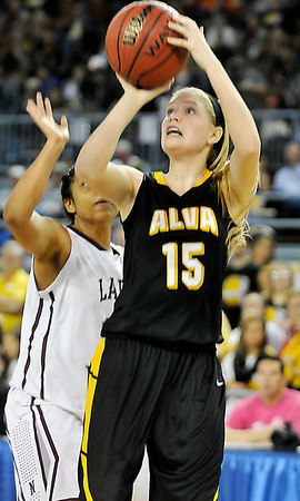 Alva's Lora Riley shoots against Northeast during the Lady Bugs 53-36 loss in the class 2A championship game Saturday at the State Fair Arena in Oklahoma City. (Staff Photo by BILLY HEFTON)