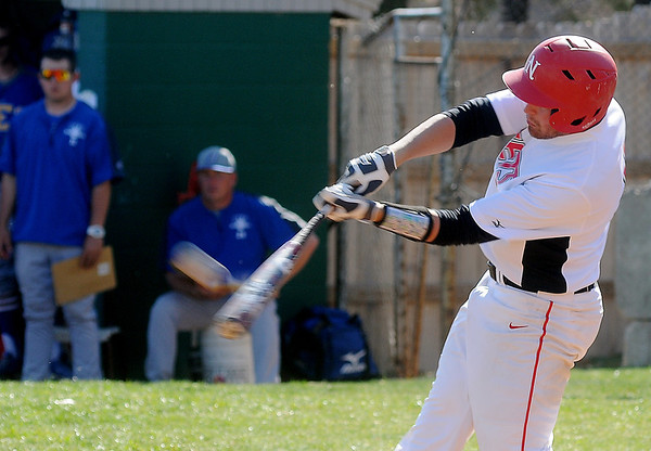 NOC Enid's Adam Dolan connects for a three run homer in the bottom of the first inning, giving the Jets a 6-2 lead over Northeastern Oklahoma A&M College at Failing Park Saturday, March 30, 2013. (Staff Photo by BONNIE VCULEK)
