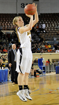 Alva's Bailey Forell shoots against Dale Saturday during the Lady Bugs 57-47 win in a class 2A semi-final game at the State Fair Arena in Oklahoma City. (Staff Photo by BILLY HEFTON)
