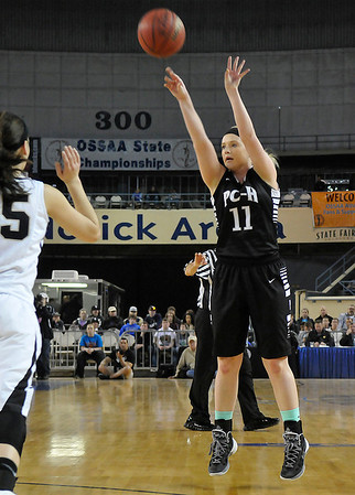 Pond Creek-Hunter's Rylie Halcomb shoots against Seiling as the Lady Panthers defeated Seiling Saturday at the State Fair Arena in Oklahoma City. (Staff Photo by BILLY HEFTON)