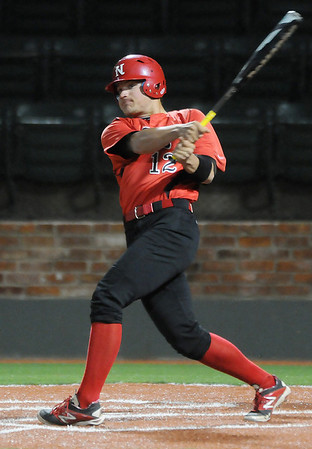 NOC Enid's Nick Yoning connects on a double against DMACC Friday at David Allen Memorial Ballpark. (Staff Photo by BILLY HEFTON)