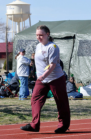 Angel Wilson, of the Enid Twisters, competes in the Special Olympics Thursday at Vance Air Force Base. (Staff Photo by BILLY HEFTON)