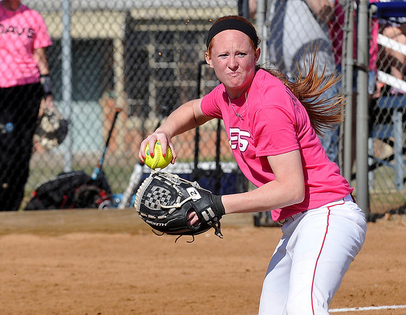 NOC Enid's Lauryne Dester makes a throw to first after fielding a bunt against NOC Tonkawa Thursday. (Staff Photo by BILLY HEFTON)