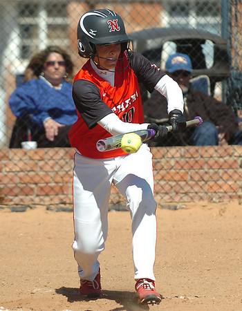 NOC Enid's Aaliyah Sebock lays down a bunt against NEO Thursday at Pacer Field. (Staff Photo by BILLY HEFTON)