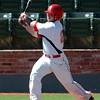 NOC Enid's Jared Thompson connects on a double against Northern Iowa Area Community College Monday at David Allen Memorial Ballpark. (Staff Photo by BILLY HEFTON)