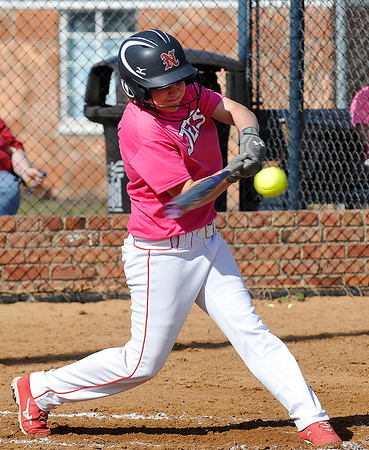 NOC Enid's Lacey Shipp connects on a homerun against NOC Tonkawa Thursday. (Staff Photo by BILLY HEFTON)