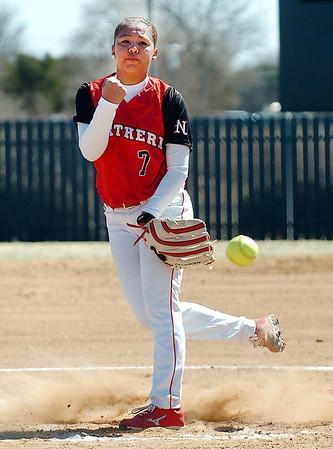 NOC Enid's Summer Leitka delivers a pitch against NEO Thursday at Pacer Field. (Staff Photo by BILLY HEFTON)