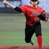 NOC Enid starting pitcher, Scotty Harvill, delivers a pitch against DMACC Friday at David Allen Memorial Ballpark. (Staff Photo by BILLY HEFTON)