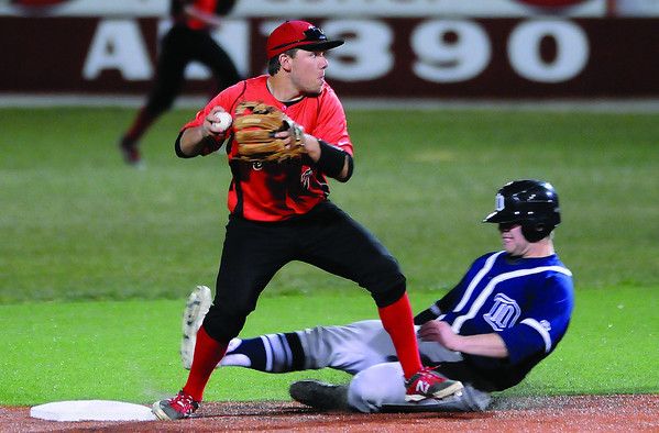 NOC Enid's Dyce Applegate throw to complete a double play as DMACC's Patrick Fiala slides into second base Friday at David Allen Memorial Ballpark. (Staff Photo by BILLY HEFTON)