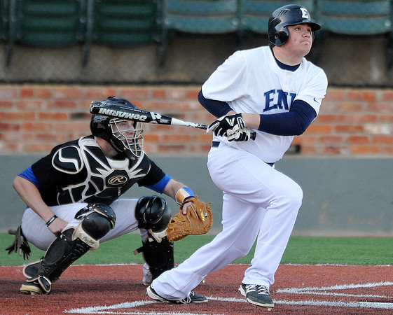 Enid's Bates Enmeierconnects on a double against Stillwater Thursday at David Allen Memorial Ballpark. (Staff Photo by BILLY HEFTON)