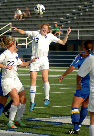 Enid's Sarah Blakley heads the ball toward the Sapulpa goal during the Pacers' 3-0 win at D. Bruce Selby Stadium Friday, April 25, 2014. (Staff Photo by BONNIE VCULEK)