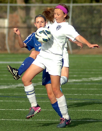 Enid's Shelley Mueller controls the ball against Sapulpa during the Pacers' 3-0 win at D. Bruce Selby Stadium Friday, April 25, 2014. (Staff Photo by BONNIE VCULEK)