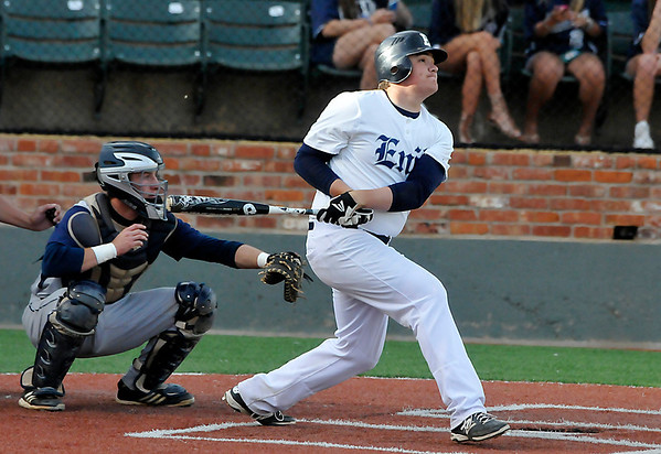Enid's Bates Enmeier connects on a double against Bartlesville Monday at David Allen Memorial Ballpark. (Staff Photo by BILLY HEFTON)