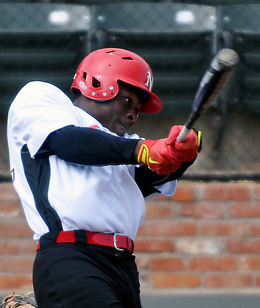 NOC Enid's Nik Gifford connects on his third hit against Independence Community College Tuesday at David Allen Memorial Ballpark. (Staff Photo by BILLY HEFTON)