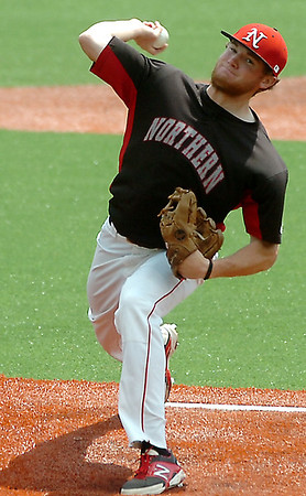 NOC Enid's Jon Chidester delivers a pitch against Western Oklahoma Sunday. Chidester threw a complete game allowing 5 hits in the Jest' 7-1 win. (Staff Photo by BILLY HEFTON)