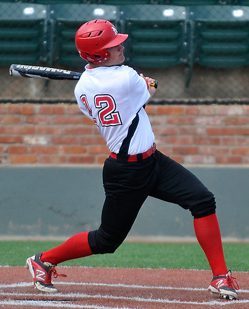 NOC Enid's Nick Yoning connects on a home run against Independence Community College Tuesday at David Allen Memorial Ballpark. (Staff Photo by BILLY HEFTON)