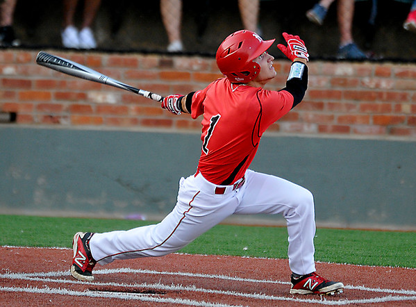 NOC Enid's Patrick O'Toole drives in a run with a sacriface fly against Connors State Monday at David Allen Memorial Ballpark. (Staff Photo by BILLY HEFTON)