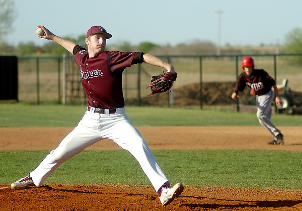 Pioneer's Austin Rogers pitches to a Frontier batter during the Class A District baseball winner's bracket game at John D. Riesen Field Thursday, April 24, 2014. (Staff Photo by BONNIE VCULEK)