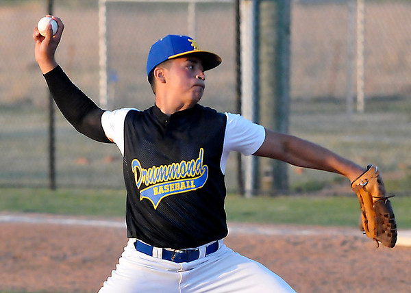 Drummond's Chris Moreno delivers a pitch against Chisholm Friday during the Merrifield Office Plus Invitational. (Staff Photo by BILLY HEFTON)