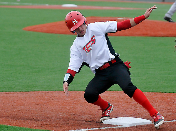 NOC Enid's Patrick O'Toole makes it ti third base against Independence Community College Tuesday at David Allen Memorial Ballpark. (Staff Photo by BILLY HEFTON)