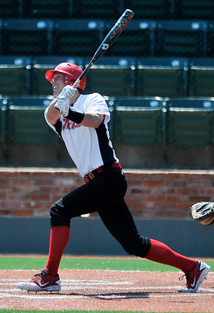 NOC Enid's Jerame Littell connects a RBI double against Pratt College Tuesday at David Allen Memorial Ballpark. (Staff Photo by BILLY HEFTON)