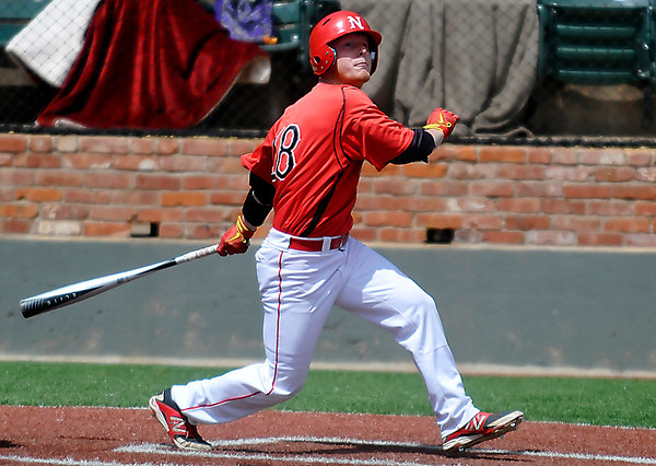 NOC Enid's Haden Johnson watches a bloop hit fall in for a hit against Murray State Wednesday at David Allen Memorial Ballpark. (Staff Photo by BILLY HEFTON)