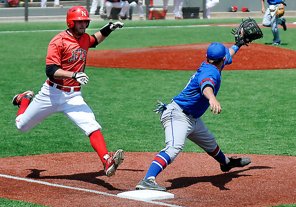 NOC Enid's Korbin Polston beats a throw at first for an infield hit against Murray State Wednesday at David Allen Memorial Ballpark. (Staff Photo by BILLY HEFTON)