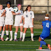 Enid's Brianna Burrow, Abigail Resendiz, Shelley Mueller and Kamika Ralstin form a wall against the free kick of Bixby's Piper Cannon Friday at D. Bruce Selby Stadium. (Staff Photo by BILLY HEFTON)