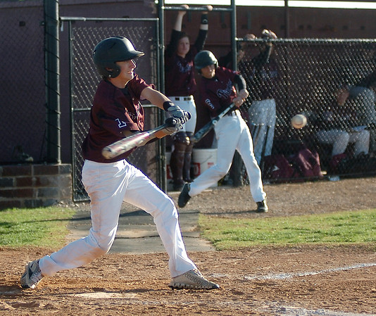 Pioneer's Sage Lamunyon connects for a single against Frontier during the Class A District baseball tournament at John D. Riesen Field Thursday, April 24, 2014. (Staff Photo by BONNIE VCULEK)