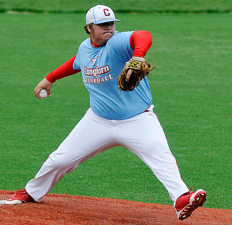 Chisholm's Jordon Langton delivers a pitch against Fairview Thursday during the first day of the Merrifield Tournament at David Allen Memorial Ballpark. (Staff Photo by BILLY HEFTON)