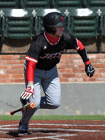 NOC Enid's Wesley O'Neill heads to first against Ellsworth CC Friday March 10, 2017 at David Allen Ballpark. (Billy Hefton / Enid News & Eagle)