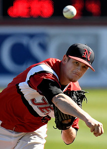 NOC Enid's Kyler Patterson delivers a pitch against Northland Friday March 3, 2017 at David Allen Ballpark. (Billy Hefton / Enid News & Eagle)