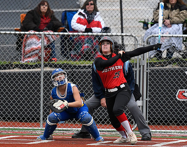 NOC Enid's Brooke Rains hits a homerun against Eastern CC Saturday March 25, 2017 at Failing Field on the NOC Enid campus. (Billy Hefton / Enid News & Eagle)