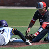 NOC Enid's Carlos Andujar tags out Ellsworth CC's Evan Jackson at second base Friday March 10, 2017 at David Allen Ballpark. (Billy Hefton / Enid News & Eagle)