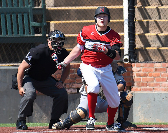 NOC Enid's Griffin Keller connects on a single against Rose State Thursday March 23, 2017 ar David Allen Ballpark. (Billy Hefton / Enid News & Eagle)