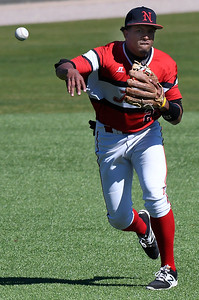 NOC Enid's Juan Sanchez makes a throw to first against Northland Friday March 3, 2017 at David Allen Ballpark. (Billy Hefton / Enid News & Eagle)