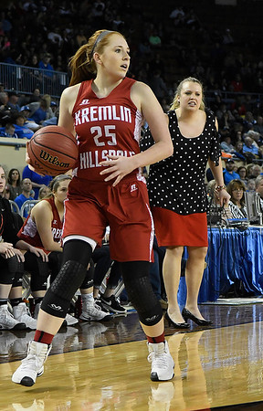 Kremlin-Hillsdale's Kalli Rundle (25) dribble upcourt during the class B state championship game against Lomega Saturday March 4, 2017 at the State Fair Arena in Oklahoma City. (Billy Hefton / Enid News & Eagle)
