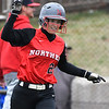 NOC Enid's Kaylon Dunn holds up a finger as she rounds the bases after hitting a homerun against Eastern CC Saturday March 25, 2017 at Failing Field on the NOC Enid campus. (Billy Hefton / Enid News & Eagle)