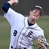 Enid starting pitcher, Connor Gore, delivers a pitch Woodward Friday March 9, 2018 at David Allen Memorial Ballpark. (Billy Hefton / Enid News & Eagle)