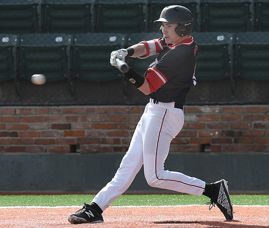 NOC Enid's Tyler Wood hits a RBI single against Butler CC Tuesday March 6, 2018 at David Allen Memorial Ballpark. (Billy Hefton / Enid News & Eagle)