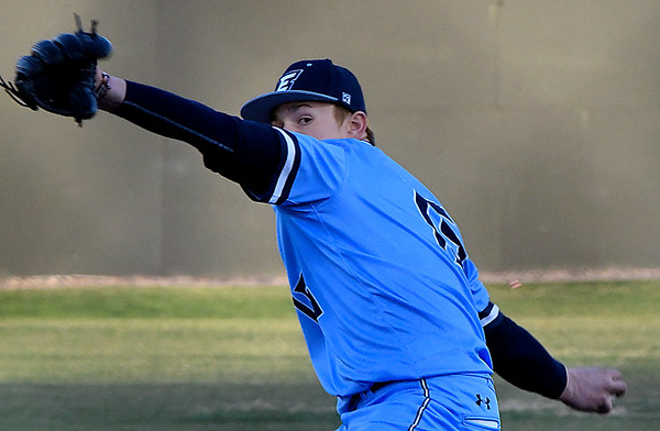 Enid's Braden Pierce delivers a pitch against Sand Springs during the home opener Monday March 5, 2018 at David Allen Memorial Ballpark. (Billy Hefton / Enid News & Eagle)