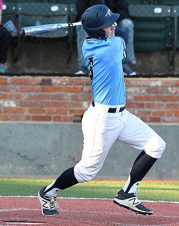 Enid's Connor Gore hits a RBI double against Southmoore Tuesday March 13, 2018 at David Allen Memorial Ballpark. (Billy Hefton / Enid News & Eagle)
