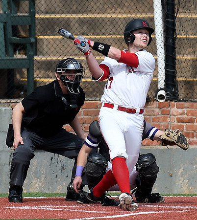 NOC Enid's Griffin Keller hits a double against Ellsworth CC Friday March 9, 2018 at David Allen Memorial Ballpark. (Billy Hefton / Enid News & Eagle)